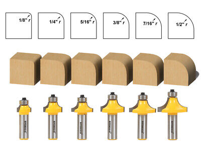 "6 Bit Round Over Edge Forming Router Bit Set - 1/2"" Shank - Yonico 13622"