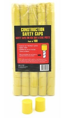 100 x CONSTRUCTION SAFETY CAPS - POST CAPS FOR STAR PICKETS STEEL POSTS REO BARS
