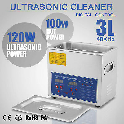 Stainless Steel 3L Liter Industry Heated Ultrasonic Cleaner Heater w/Timer USA