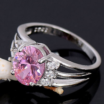 New 925 Sterling Silver Filled Pink Cubic Zirconia Crystal Ring For Women