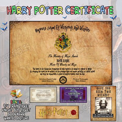 NEW AND PERSONALISED Hogwarts Diploma Certificate - Harry Potter Fans *Laminated