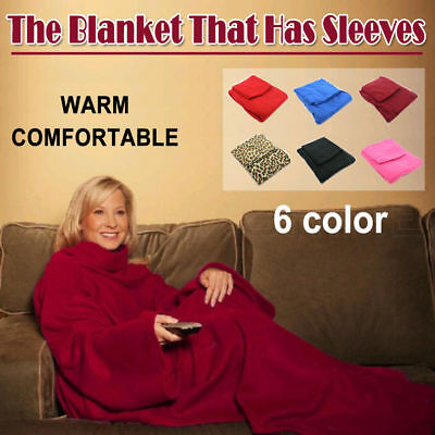 Sleeved Cuddle Blanket Throw Snuggle with Sleeves Snuggie TV Fleece with pocket