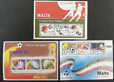 Malta Stamps World Cup Miniature Sheets 7 9 11 Mint Never Hinged MNH