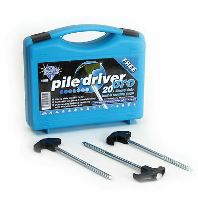 Pile Driver Pro  Rock Pegs - boxed in 20 -  Awning Tent Pegs Blue Diamond