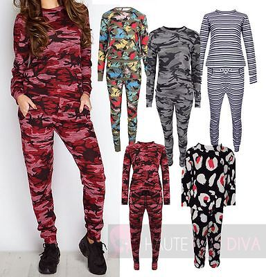 Girls Teens Casual Tracksuit Loungesuit Camo Joggers Set Age 3-13 Years