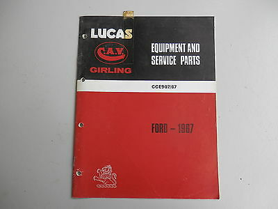 LUCAS Parts List for  FORD cars and commercials 1967