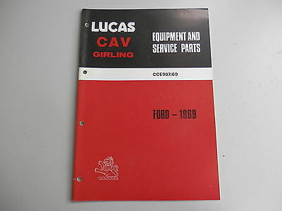 LUCAS Parts List for FORD cars and commercials 1969