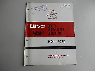 LUCAS Parts List for FORD cars and commercials 1964
