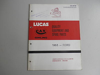 LUCAS Parts List for FORD cars and commercials 1965