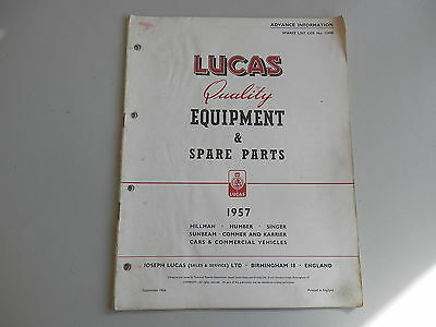LUCAS Parts List for 1957 HILLMAN HUMBER SINGER SUNBEAM COMMER KARRIER