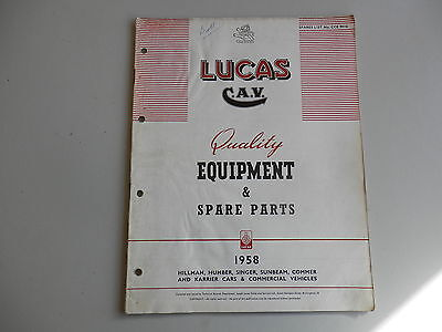 LUCAS Parts List for 1958 HILLMAN HUMBER SINGER SUNBEAM COMMER KARRIER