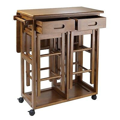 Kitchen Island Cart Portable Rolling Utility Storage Cabinet ...