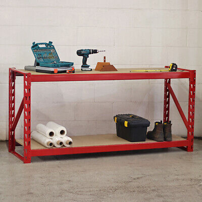 HEAVY DUTY METAL WORKBENCH FOR GARAGE/WORKSHOP SHED WORK BENCH RED 1.95M Wido