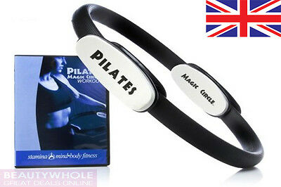 """Magic Circle Pilates Ring Yoga Resistance Training 15"""" with Workout Chart & DVD"""