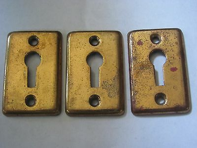 Lot of 3 Antique Heavy Brass Key Hole Covers Antique Door Hardware NOS D