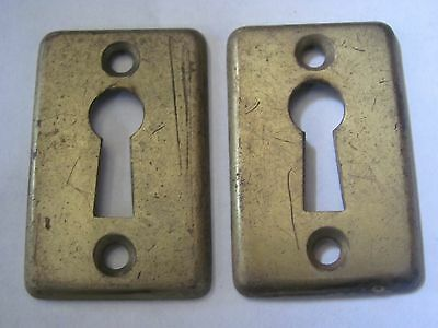 Lot of 2 Antique YALE Brass Key Hole Covers Door Hardware NOS E