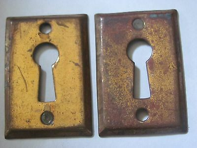 Lot of 2 Antique Brass Square Key Hole Covers Door Hardware NOS F