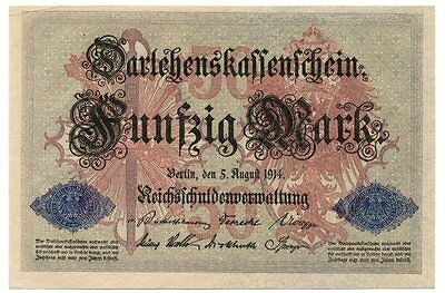Germany WW1 Ornate 50 Mark Note (1914) EF