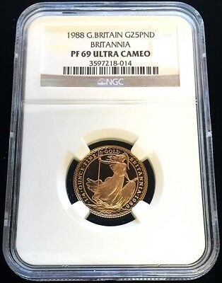 1988 Gold Great Britain 25 Pounds Britannia Coin Ngc Proof 69 Ultra Cameo
