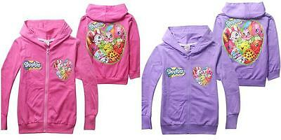 Kids Girls Fall Spring Hoodies Zipper Hoodies  Cartoon Print Hooded Shopkins