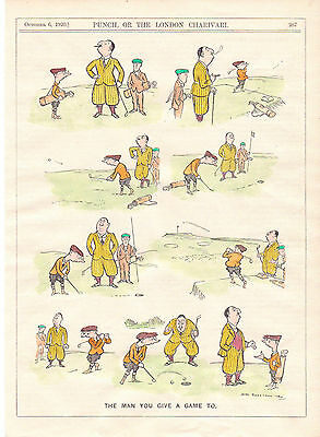"""Antique Golf Engraving """" The Man You Give A Game To ."""" Very Rare. 1920"""