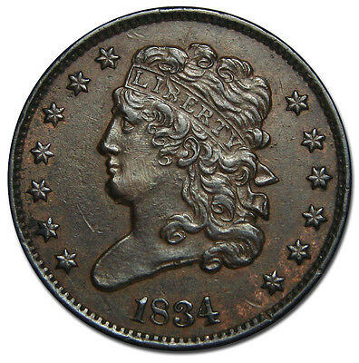 1834 Philadelphia Mint Copper Braided Head Half Cent Coin Lot# MZ 2218