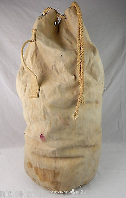 Vintage 1940's WWII White US Navy Heavy Canvas Duffle Bag Sack w/ Rope Cinch