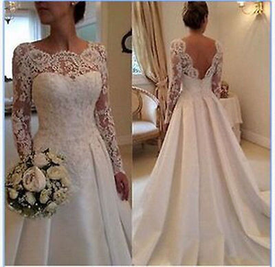White Ivory Long sleeve Gown Bridal Wedding Dress Custom Size 6 8 10 12 14 16