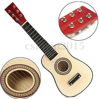 "23"" Red Wooden Beginners Practice Acoustic Guitar w/ 6 String For Children Kids"