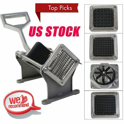 Potato French Fry Fruit Vegetable Commercial Cutter Slicer Cutting W/ 4 Blades J
