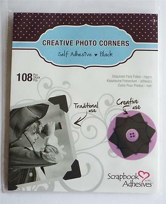 Traditional Classic Black Photo Corners Pack 108 Self Adhesive Paper