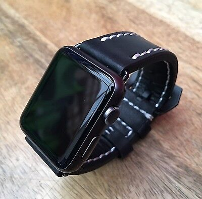 High Quality Black Leather Watch Strap  Band for Apple Watch 38mm Series 1 2 & 3