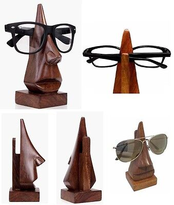 Reading Glasses Holder Stand Wooden Nose Shape Spectacles Sunglasses Display New