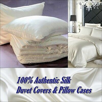 Natural 100% Real SILK Duvet Set Pilllow Cases Bed Double Cover Luxurious Soft
