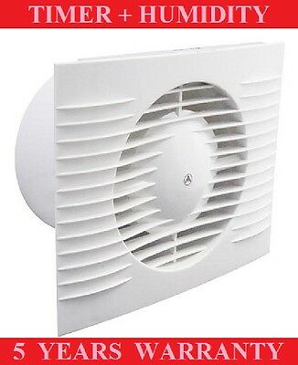 "BATHROOM EXTRACTOR FAN 100mm/4"" TIMER AND HUMIDITY SILENT WHITE LOW PROFILE"