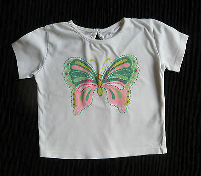 Baby clothes GIRL 12-18m butterfly white t-shirt/top short sleeves F&F SEE SHOP!