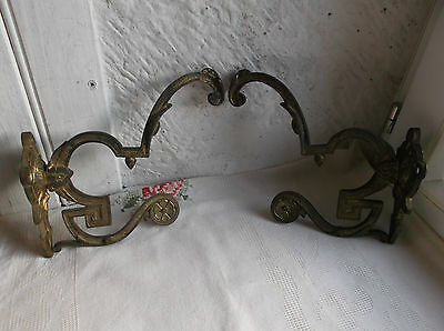 French antique 19th century coat hat hooks a pair patina bronze awesome, solid