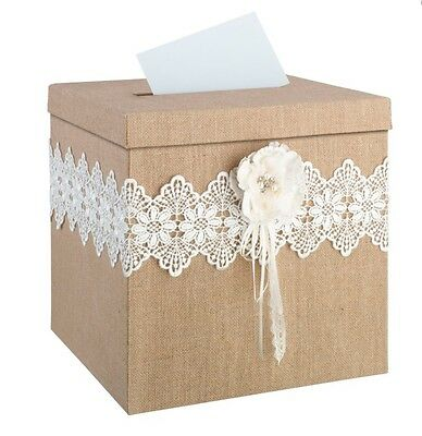 Burlap/hessian/jute And Lace Wedding Card Post Box