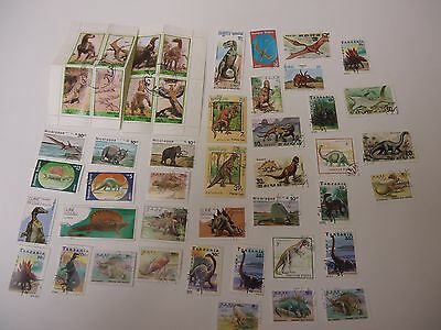 Stamps 43 Dinosaurs  From All Over The World All Different And Good Quality