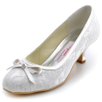 WM-017 Ivory Almond Toe Prom Bow Low Heel Lace Bridal Pumps Wedding Party Shoes