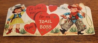 Antique Valentines Day Card I'd Like You For My Trail Boss Little Cowboy Cowgirl