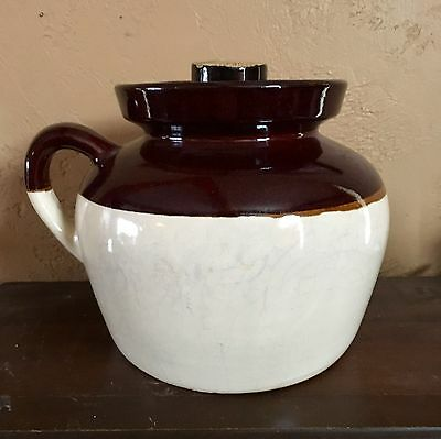 Vintage Large Brown and Cream Robinson Ransbottom Pottery Bean Pot with Lid
