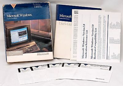 "Microsoft Windows 3.0 5.25"" 1.2MB Disks Complete in Box"