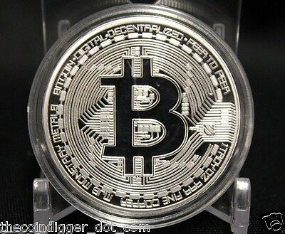BTC Silver Plated BITCOIN 1oz Copper Coin Round In Capsule USA Seller & Miner ✯