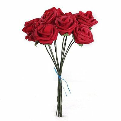 CY PE Artificial Foam Rose Bouquet for Wedding Decor Pack of 10 Pcs Red