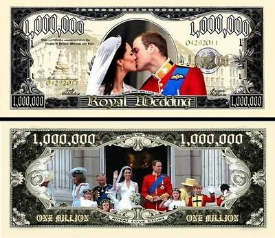 2 Notes Kate & William Wedding Million $ Novelty Notes