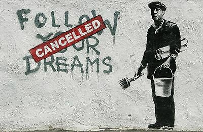 Poster Banksy Graffiti Dreams Stampa Fine Art Quadro su Pannello in Legno MDF