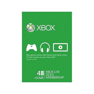 Xbox Live 2 Day 48 hours hr hour Gold Trial Code 2 Days day Xbox One / Xbox 360
