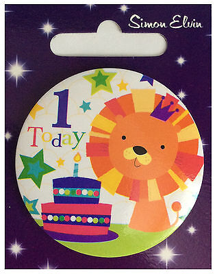 Expressions I AM 1 TODAY Happy 1st Birthday Badge Blue Boy 55mm Diameter