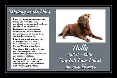 Pet Dog Memorial Personalised Gift Waiting at the Door Rainbow Bridge verse poem